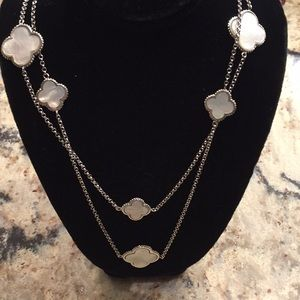 "Jewelry - Sterling silver and mother of pearl 40"" necklace"